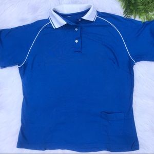 Vintage Blue and White Polo with Front Pocket
